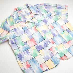 Alfred Dunner Pastel Short Sleeve Button Shirt